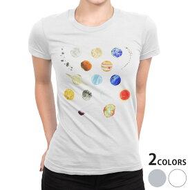 tシャツ レディース 半袖 白地 デザイン S M L XL Tシャツ ティーシャツ T shirt 015978 太陽系 宇宙 惑星