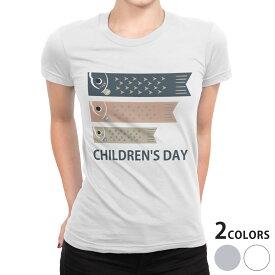 tシャツ レディース 半袖 白地 デザイン S M L XL Tシャツ ティーシャツ T shirt 017656 子供の日 鯉のぼり こいのぼり カラフル