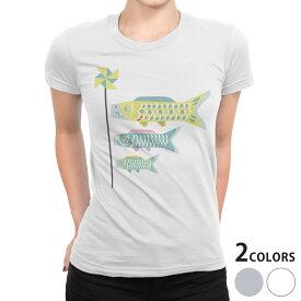 tシャツ レディース 半袖 白地 デザイン S M L XL Tシャツ ティーシャツ T shirt 017692 子供の日  こいのぼり カラフル 鯉のぼり