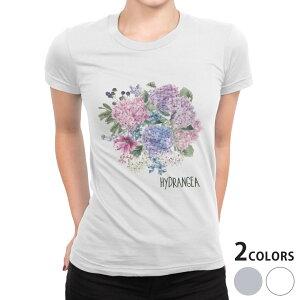 tシャツ レディース 半袖 白地 デザイン S M L XL Tシャツ ティーシャツ T shirt 017811 梅雨 梅雨 アジサイ 紫陽花