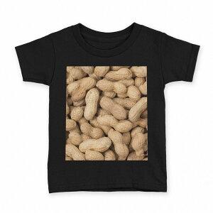 tシャツ キッズ 半袖 黒地 ブラック デザイン 90 100 110 120 130 140 150 Tシャツ ティーシャツ T shirt 000276 ピーナツ 落花生 食べ物