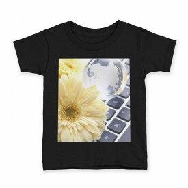 tシャツ キッズ 半袖 黒地 ブラック デザイン 90 100 110 120 130 140 150 Tシャツ ティーシャツ T shirt 000924 花 キーボード
