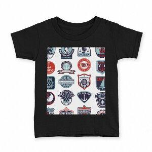tシャツ キッズ 半袖 黒地 ブラック デザイン 90 100 110 120 130 140 150 Tシャツ ティーシャツ T shirt 004514 マリン ワッペン イラスト