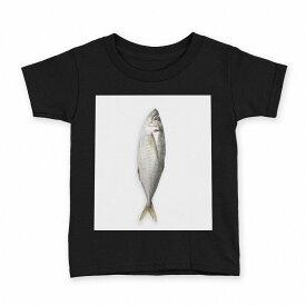 tシャツ キッズ 半袖 黒地 ブラック デザイン 90 100 110 120 130 140 150 Tシャツ ティーシャツ T shirt 005850 写真 魚 あじ