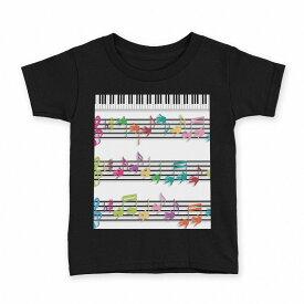 tシャツ キッズ 半袖 黒地 ブラック デザイン 90 100 110 120 130 140 150 Tシャツ ティーシャツ T shirt 006472 音符 楽譜 ピアノ