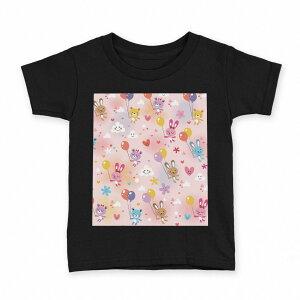 tシャツ キッズ 半袖 黒地 ブラック デザイン 90 100 110 120 130 140 150 Tシャツ ティーシャツ T shirt 006629 動物 風船 キャラクター