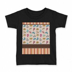 tシャツ キッズ 半袖 黒地 ブラック デザイン 90 100 110 120 130 140 150 Tシャツ ティーシャツ T shirt 006691 のりもの 乗り物 イラスト