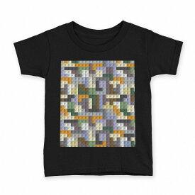 tシャツ キッズ 半袖 黒地 ブラック デザイン 90 100 110 120 130 140 150 Tシャツ ティーシャツ T shirt 007788 カラフル 模様 レゴ ドット