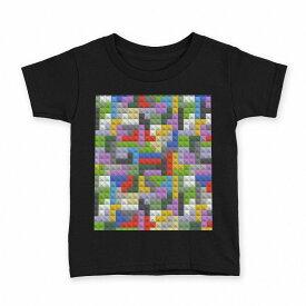 tシャツ キッズ 半袖 黒地 ブラック デザイン 90 100 110 120 130 140 150 Tシャツ ティーシャツ T shirt 007797 カラフル 模様 レゴ ドット