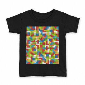 tシャツ キッズ 半袖 黒地 ブラック デザイン 90 100 110 120 130 140 150 Tシャツ ティーシャツ T shirt 007807 カラフル 模様 レゴ ドット