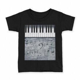 tシャツ キッズ 半袖 黒地 ブラック デザイン 90 100 110 120 130 140 150 Tシャツ ティーシャツ T shirt 008223 音符 楽譜 ピアノ モノクロ