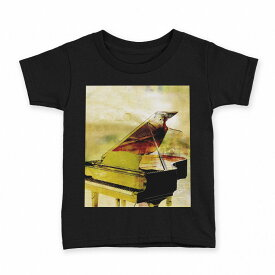 tシャツ キッズ 半袖 黒地 ブラック デザイン 90 100 110 120 130 140 150 Tシャツ ティーシャツ T shirt 008287 音符 楽譜 ピアノ