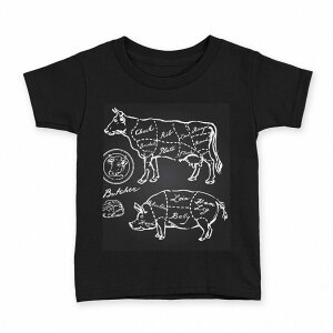 tシャツ キッズ 半袖 黒地 ブラック デザイン 90 100 110 120 130 140 150 Tシャツ ティーシャツ T shirt 008358 白黒 牛 豚 肉 イラスト