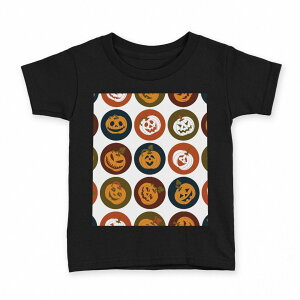 tシャツ キッズ 半袖 黒地 ブラック デザイン 90 100 110 120 130 140 150 Tシャツ ティーシャツ T shirt 008538 かぼちゃ アイコン 赤 レッド 模様