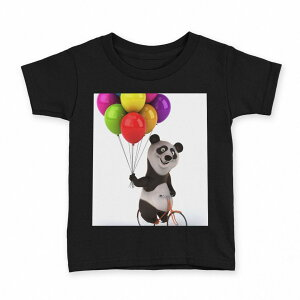 tシャツ キッズ 半袖 黒地 ブラック デザイン 90 100 110 120 130 140 150 Tシャツ ティーシャツ T shirt 008702 パンダ 風船 カラフル キャラクター