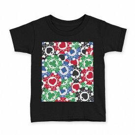 tシャツ キッズ 半袖 黒地 ブラック デザイン 90 100 110 120 130 140 150 Tシャツ ティーシャツ T shirt 008743 チップ トランプ カジノ