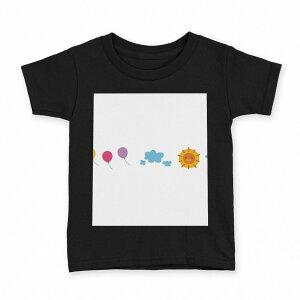 tシャツ キッズ 半袖 黒地 ブラック デザイン 90 100 110 120 130 140 150 Tシャツ ティーシャツ T shirt 009553 風船 空 キャラクター