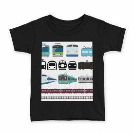 tシャツ キッズ 半袖 黒地 ブラック デザイン 90 100 110 120 130 140 150 Tシャツ ティーシャツ T shirt 009587 乗り物 電車 こども