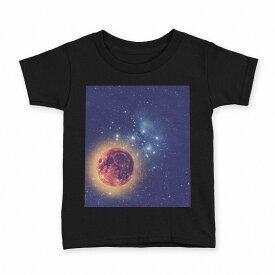 tシャツ キッズ 半袖 黒地 ブラック デザイン 90 100 110 120 130 140 150 Tシャツ ティーシャツ T shirt 011808 宇宙 星 惑星