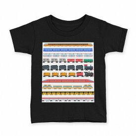 tシャツ キッズ 半袖 黒地 ブラック デザイン 90 100 110 120 130 140 150 Tシャツ ティーシャツ T shirt 013183 乗り物 電車 汽車