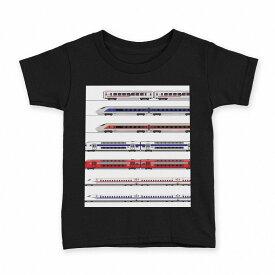 tシャツ キッズ 半袖 黒地 ブラック デザイン 90 100 110 120 130 140 150 Tシャツ ティーシャツ T shirt 013216 乗り物 新幹線 電車