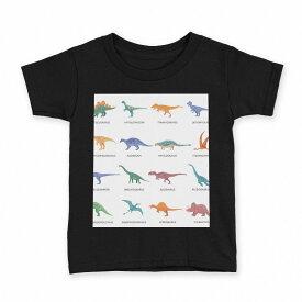 tシャツ キッズ 半袖 黒地 ブラック デザイン 90 100 110 120 130 140 150 Tシャツ ティーシャツ T shirt 013280 恐竜 英語 文字