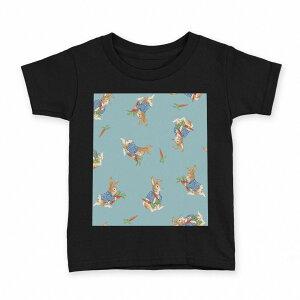 tシャツ キッズ 半袖 黒地 ブラック デザイン 90 100 110 120 130 140 150 Tシャツ ティーシャツ T shirt 013544 うさぎ にんじん ラビット