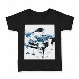tシャツ キッズ 半袖 黒地 ブラック デザイン 90 100 110 120 130 140 150 Tシャツ ティーシャツ T shirt 013616 ピアノ 水彩 楽譜