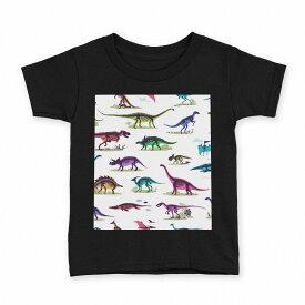 tシャツ キッズ 半袖 黒地 ブラック デザイン 90 100 110 120 130 140 150 Tシャツ ティーシャツ T shirt 013985 恐竜 カラフル
