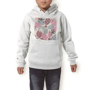 パーカー キッズ ホワイト グレー ブラック デザイン 110 130 150 parker hooded sweatshirt フーディ 白 黒 灰色 子供 男の子 女の子 002435 いちご 花 ピンク