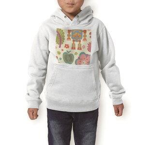 パーカー キッズ ホワイト グレー ブラック デザイン 110 130 150 parker hooded sweatshirt フーディ 白 黒 灰色 子供 男の子 女の子 004117 花 果物 イラスト カラフル