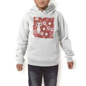 パーカー キッズ ホワイト グレー ブラック デザイン 110 130 150 parker hooded sweatshirt フーディ 白 黒 灰色 子供 男の子 女の子 004458 猫 花 キャラクター