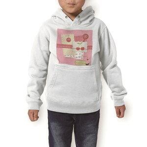 パーカー キッズ ホワイト グレー ブラック デザイン 110 130 150 parker hooded sweatshirt フーディ 白 黒 灰色 子供 男の子 女の子 005884 イラスト さくらんぼ ピンク