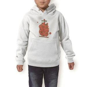パーカー キッズ ホワイト グレー ブラック デザイン 110 130 150 parker hooded sweatshirt フーディ 白 黒 灰色 子供 男の子 女の子 009174 果物 赤 リンゴ