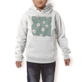 パーカー キッズ ホワイト グレー ブラック デザイン 110 130 150 parker hooded sweatshirt フーディ 白 黒 灰色 子供 男の子 女の子 011099 花 水玉 緑
