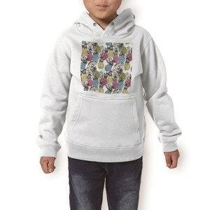 パーカー キッズ ホワイト グレー ブラック デザイン 110 130 150 parker hooded sweatshirt フーディ 白 黒 灰色 子供 男の子 女の子 012596 パイナップル 植物 南国