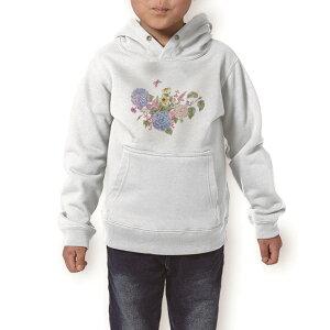 パーカー キッズ ホワイト グレー ブラック デザイン 110 130 150 parker hooded sweatshirt フーディ 白 黒 灰色 子供 男の子 女の子 014671 花 フラワー アジサイ