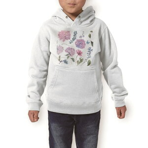 パーカー キッズ ホワイト グレー ブラック デザイン 110 130 150 parker hooded sweatshirt フーディ 白 黒 灰色 子供 男の子 女の子 014760 アジサイ 花 梅雨