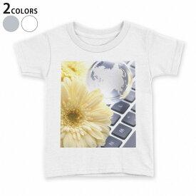 tシャツ キッズ 半袖 白地 デザイン 110 120 130 140 150 Tシャツ ティーシャツ T shirt 000924 花 キーボード