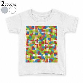 tシャツ キッズ 半袖 白地 デザイン 110 120 130 140 150 Tシャツ ティーシャツ T shirt 007807 カラフル 模様 レゴ ドット