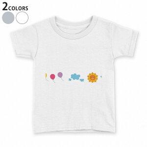 tシャツ キッズ 半袖 白地 デザイン 110 120 130 140 150 Tシャツ ティーシャツ T shirt 009553 風船 空 キャラクター