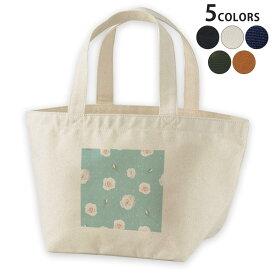 デザインランチバッグ キャンバス デイパック バッグ レディースバッグ トートバッグ ナチュラル 黒 black 011099 花 水玉 緑