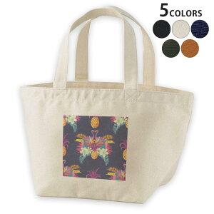 デザインランチバッグ キャンバス デイパック バッグ レディースバッグ トートバッグ ナチュラル 黒 black 012564 パイナップル 鳥 南国