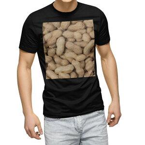 tシャツ メンズ 半袖 ブラック デザイン XS S M L XL 2XL Tシャツ ティーシャツ T shirt 黒 000276 ピーナツ 落花生 食べ物
