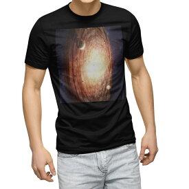 tシャツ メンズ 半袖 ブラック デザイン XS S M L XL 2XL Tシャツ ティーシャツ T shirt 黒 004912 宇宙 惑星 写真
