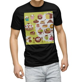 tシャツ メンズ 半袖 ブラック デザイン XS S M L XL 2XL Tシャツ ティーシャツ T shirt 黒 005413 イラスト スイーツ