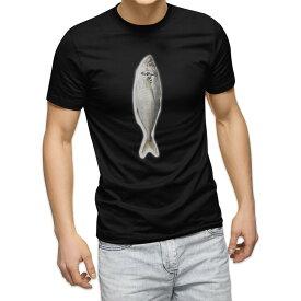 tシャツ メンズ 半袖 ブラック デザイン XS S M L XL 2XL Tシャツ ティーシャツ T shirt 黒 005850 写真 魚 あじ