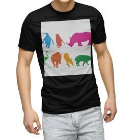 tシャツ メンズ 半袖 ブラック デザイン XS S M L XL 2XL Tシャツ ティーシャツ T shirt 黒 008130 動物 カラフル サイ ペンギン