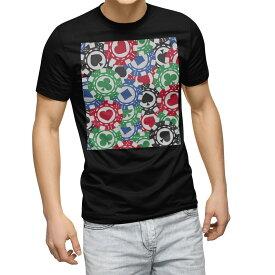 tシャツ メンズ 半袖 ブラック デザイン XS S M L XL 2XL Tシャツ ティーシャツ T shirt 黒 008743 チップ トランプ カジノ