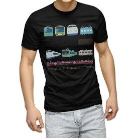 tシャツ メンズ 半袖 ブラック デザイン XS S M L XL 2XL Tシャツ ティーシャツ T shirt 黒 009587 乗り物 電車 こども